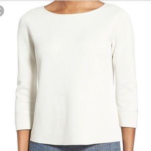 Eileen Fisher Bateau Neck Boxy Sweater Silk Cotton